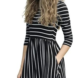 Celebrity Fashion: Black Striped Maxi Dress